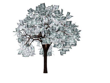 Money tree- 3d render of tree with dollar bills instead of leaves