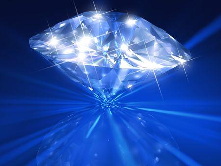 Enorme 3d gesmolten diamant op mooie blauwe achtergrond