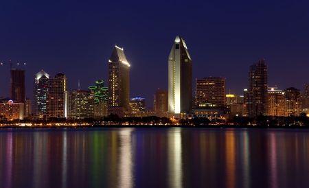 View of San Diego skyline at night from Coronado Island Stock Photo