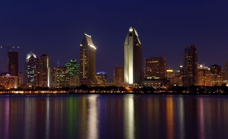 View of San Diego skyline at night from Coronado Island Stock Photo