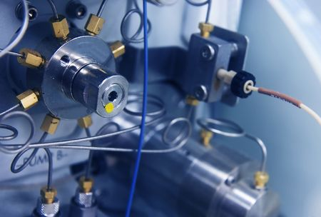 analytical chemistry: Close-up of an HPLC instrument pump (used for analytical chemistry work)