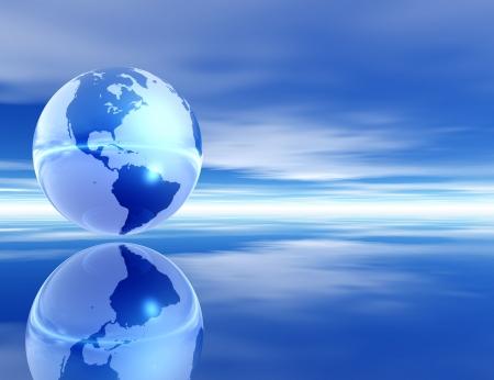 렌더링 된 금속 지구와 부드러운 구름과 평화로운 환경에서 반사