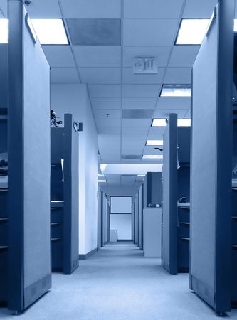 Long row of empty office cubicles Stock Photo - 2406804