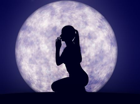 Silhouette of a woman praying in front of full moon.  Fantasy 2D render