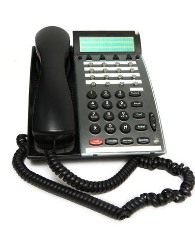 repondre au telephone: Modern t�l�phone multi-fonctions, isol� sur blanc. Focus sur le bouton Banque d'images