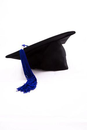 Graduation cap with blue tassel