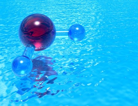 h2o: Pool of H2O - high quality render of a molecular model of H2O reflected in a pool of clean, transparent water