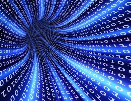 High-resolution 3d rendered binary tunnel for technology backgrounds Standard-Bild