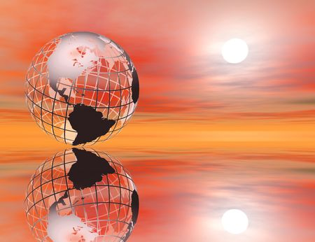 wire mesh: 3D rendered wireframe earth in a glowing sunset setting, with reflection