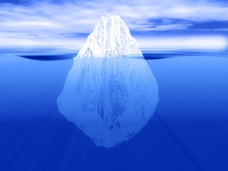 3D render of an iceberg partially submerged in water - can be used for