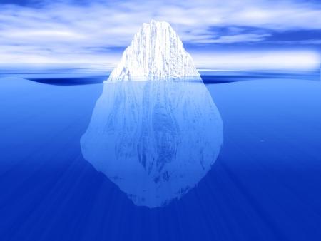 3D render van een ijsberg gedeeltelijk onder water - kan worden gebruikt voor