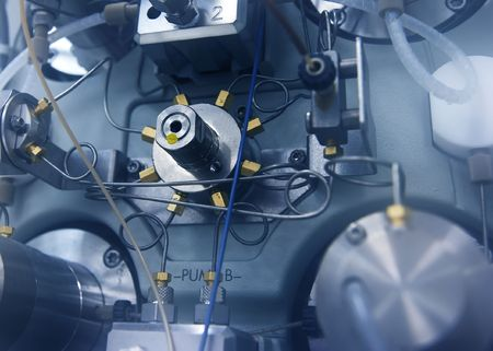 Close-up of an HPLC instrument pump (used for analytical chemistry work)