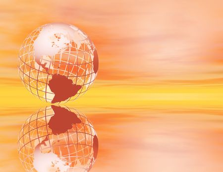 3D rendered wireframe earth in a glowing sunset setting, with reflection photo