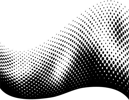 Elegant wave made of halftone dots, for backgrounds Çizim
