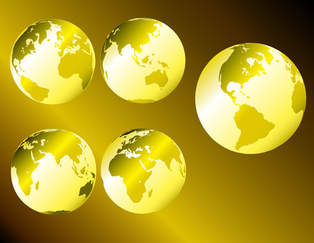 Gold metallic earth - multiple views of the earth with glossy metallic shading Stock Vector - 2563782