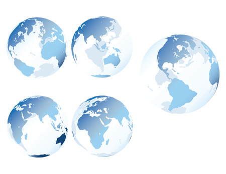 Blue glass earth - Multiple views of see-through, glass-like earth Vector