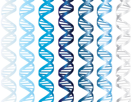 Vector - DNA double helix in several shades of matte and metallic blue