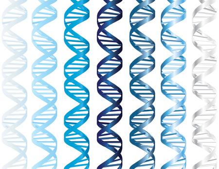 Vector - hélice doble de la DNA en varias cortinas del azul mate y metálico Ilustración de vector
