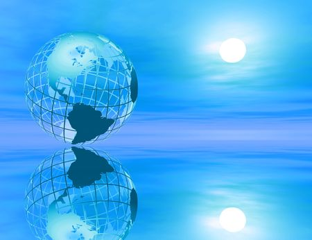Wireframe rendered earth in a peaceful environment with reflection photo
