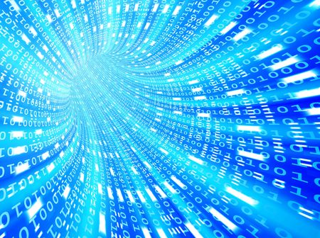 High-resolution 3d rendered binary tunnel for technology backgrounds Stock Photo