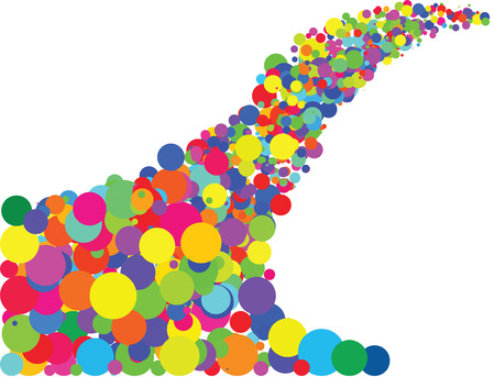 Vector- Random bubbles in cheerful colors flowing on a white background Illustration