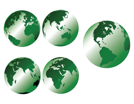 Green metallic earth - multiple views of the earth with glossy metallic shading