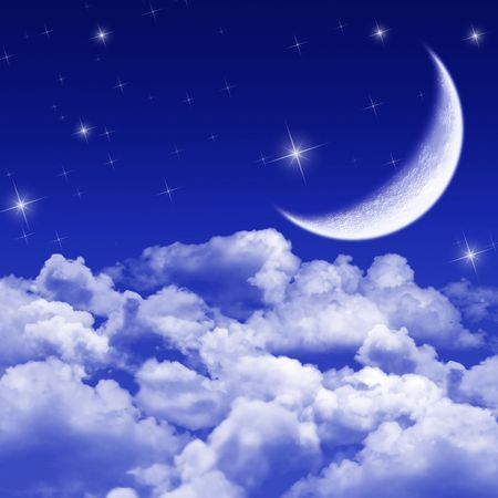 mistery: New moon and stars shining above blue clouds