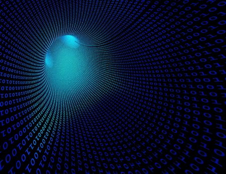 High-resolution 3d rendered binary tunnel for technology backgrounds Banco de Imagens