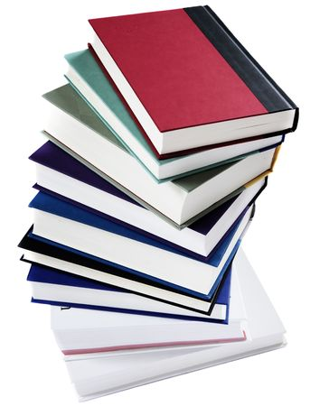 text books: Stack of books arranged in a spiral staircase, isolated on white Stock Photo