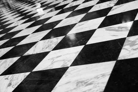 Diner floor with retro checkered pattern