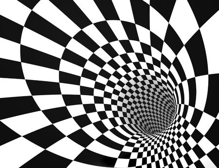 Dizzying deep tunnel with geometric patterns