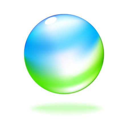 translucent: Abstract vector of sky and grass in a transparent bubble Illustration