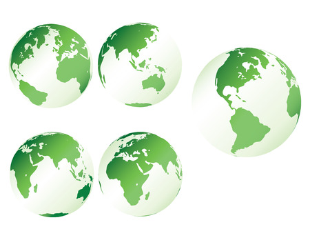 Green plastic earth - multiple views of the earth with plastic shading Stock Vector - 4553797