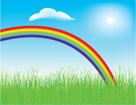 Vector - colorful spring rainbow in a meadow with fresh green grass 矢量图像