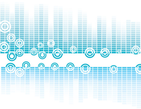 Vector design with equalizer bands and retro circles Vector