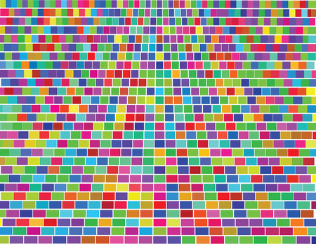 Vector - Colorful mosaic with small square tiles and distance perspective