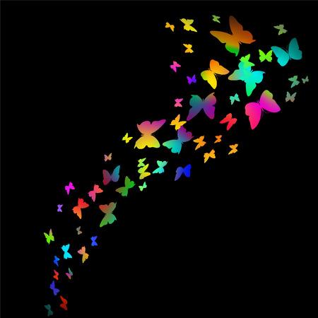 ベクトル - 黒の背景に飛行中のカラフルな蝶