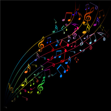 Vector - colorful musical notes emerging on a black background