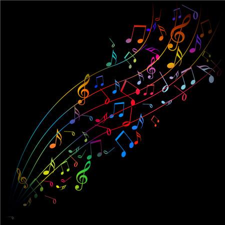 Vector - notas musicales que salen de colores sobre fondo negro Foto de archivo - 4553815