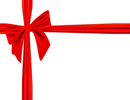 Vector - festive giftwrap with elegant red bow, isolated on white Vector