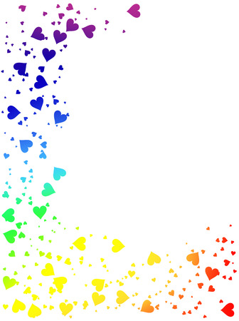 rainbow colours: Vector - colorful frame made of rainbow hearts
