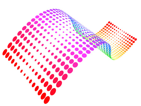 swoosh: Vector - rainbow colored half-tone wave