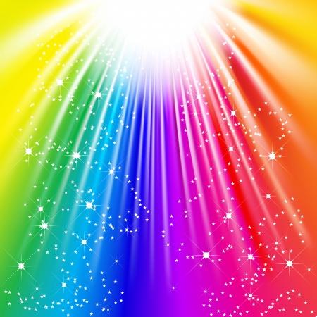 ベクトル - 輝く星とカラフルな光の光線