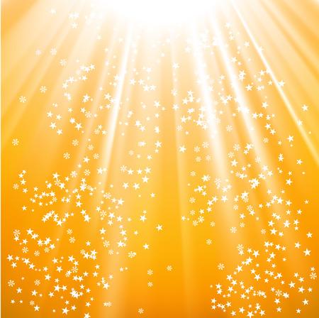 Vector - sneeuwvlokken en sterren op het pad van de gouden licht aflopend Stock Illustratie