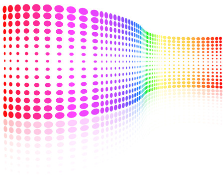 Vector - rainbow colored half-tone wave with pale reflection
