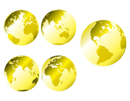 Gold metallic earth - multiple views of the earth with glossy metallic shading Stock Vector - 4579548