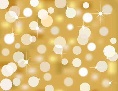 Vector background of golden bokeh Christmas lights Vector