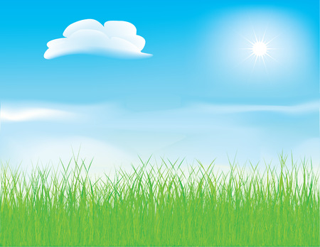 grass blades: Vector - beautiful spring meadow with fluffy clouds and detailed grass Illustration