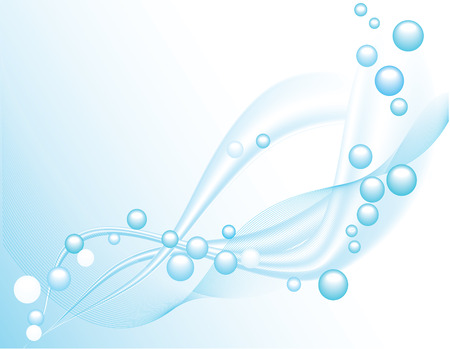 Bubbles and waves flowing on a gradient background - vector Vector