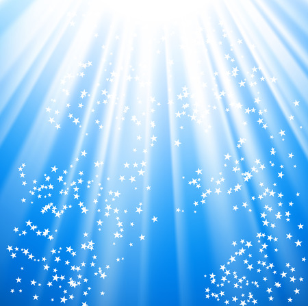 Vector - stars coming down on rays of light